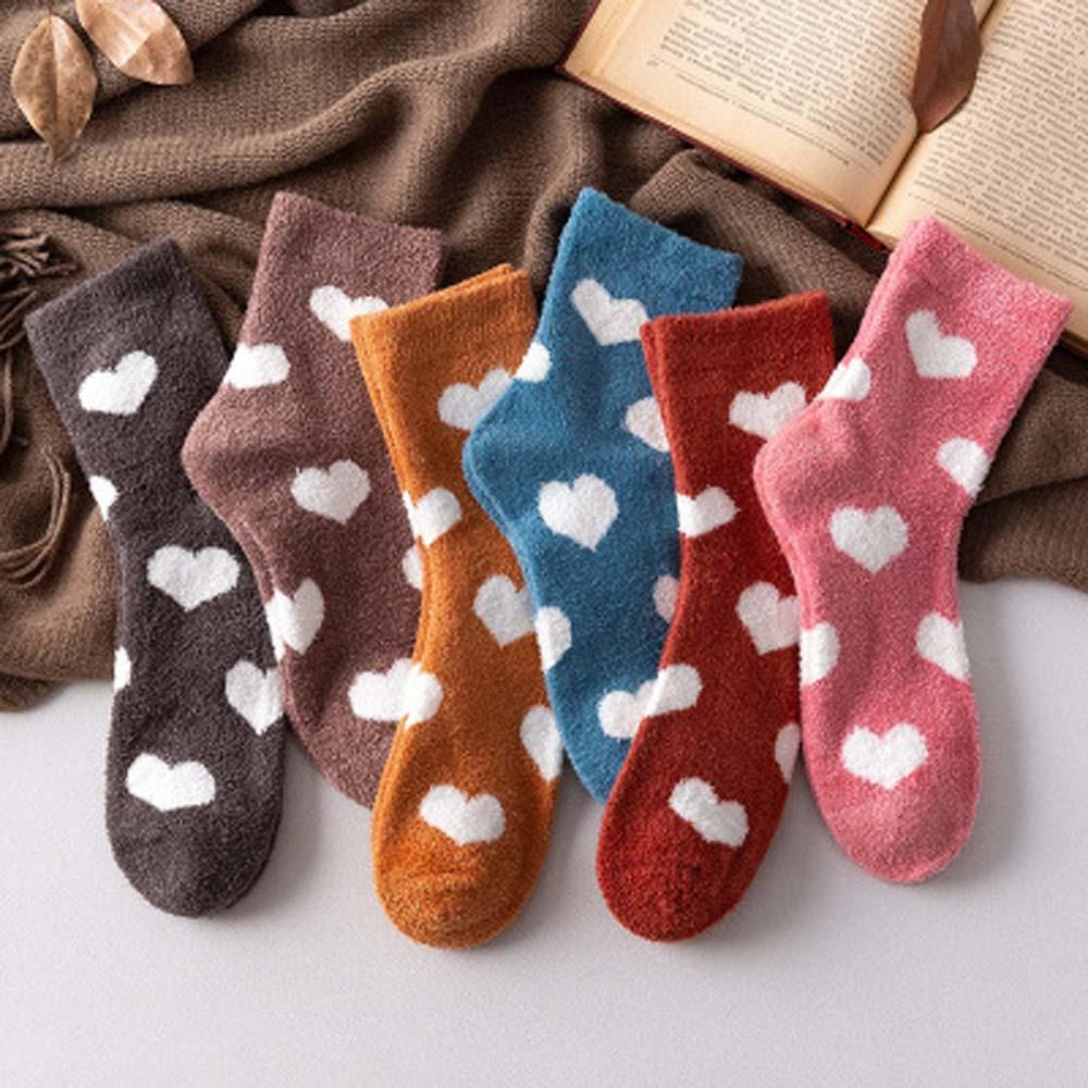 1Pair Warm Socks Candy Color Love Heart Thicken Socks Women Winter Fuzzy Fluffy Terry Coral Fleece Bed Sleep Socks