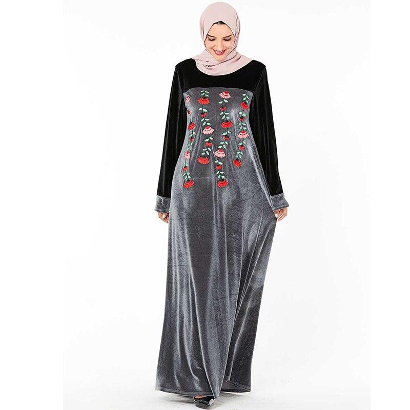 Velvet Dubai Abaya Hijab Muslim Dress Kaftan Islamic Abayas Turkish Dresses Caftan Marocain Vestidos Grote Maten Dames Kleding