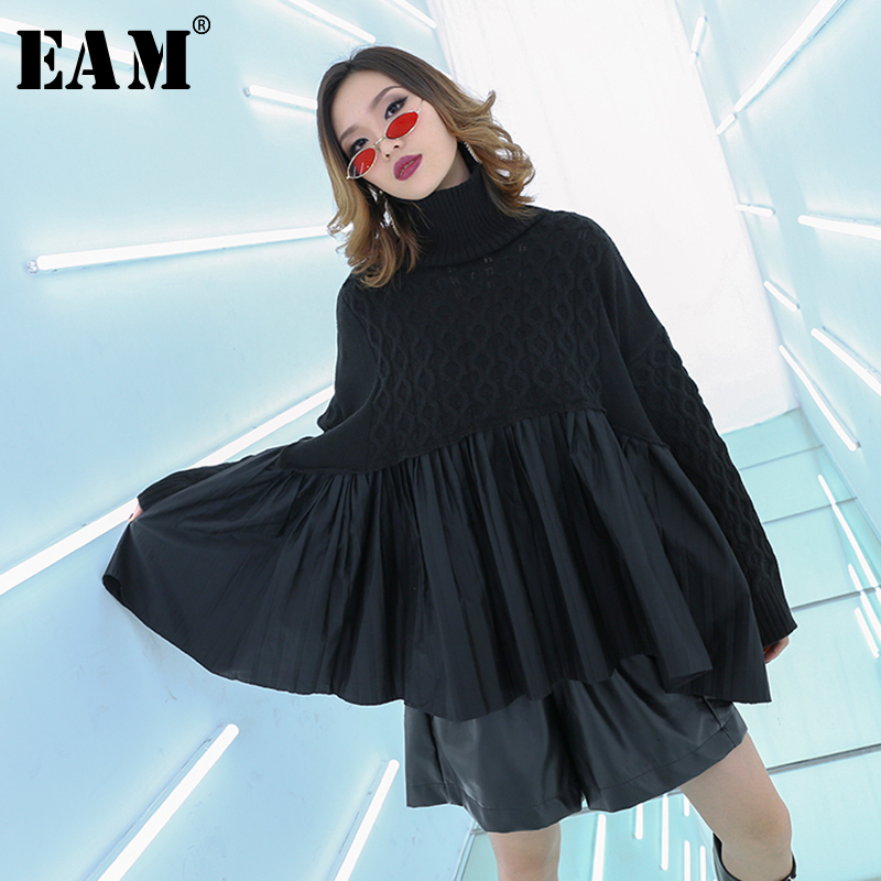 [EAM] Black Pleated Big Size Knitting Sweater Loose Fit High Collar Long Sleeve Women New Fashion Tide Spring Autumn 2020 1B311