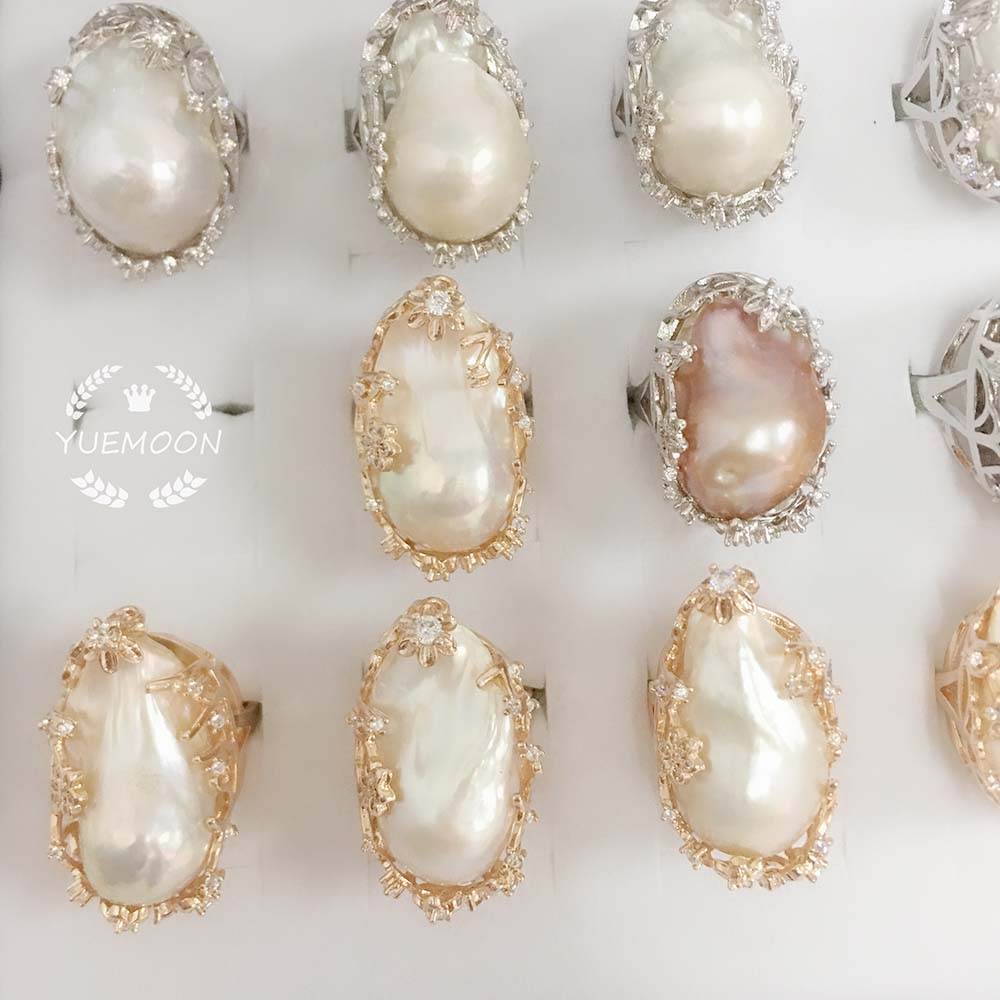 100% NATURE FRESHWATER PEARL RING, big baroque shape pearl ring .20  x 30 mm pearl