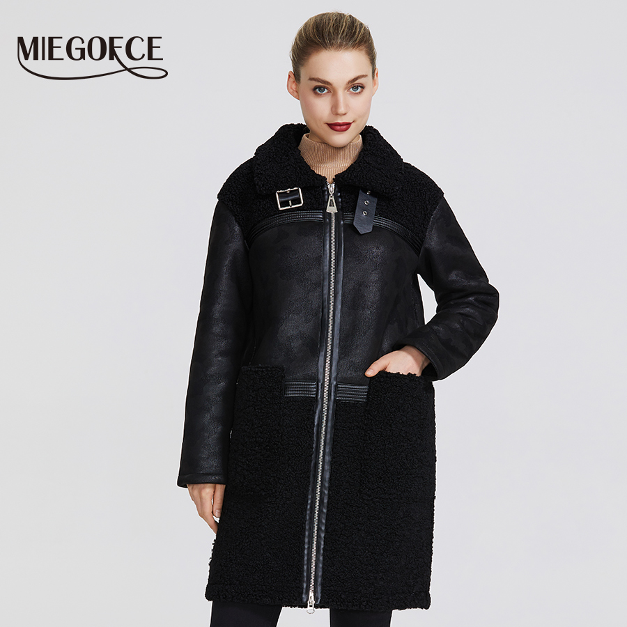MIEGOFCE2019 New Winter Women Collection Faux Fur Jacket  Design Women Sheepskin Coat Knee Length Windproof Resistant Collar Fur