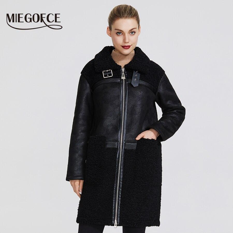 Miegofce2019 nova coleção feminina inverno falso casaco de pele design feminino casaco de pele carneiro na altura do joelho resistente à prova de vento gola pele