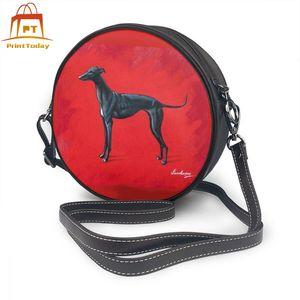 Image 1 - Saco de ombro de galgo saco de couro de galgo crossbody padrão bolsas femininas fino estudante bolsa redonda