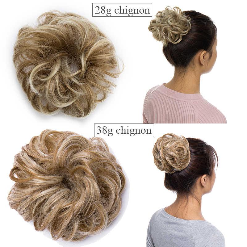 BENEHAIR Scrunchy pelo moño desordenado mujeres Chignon rizado Chignon extensión de pelo sintético Updo Donut postizos de pelo falso pieza