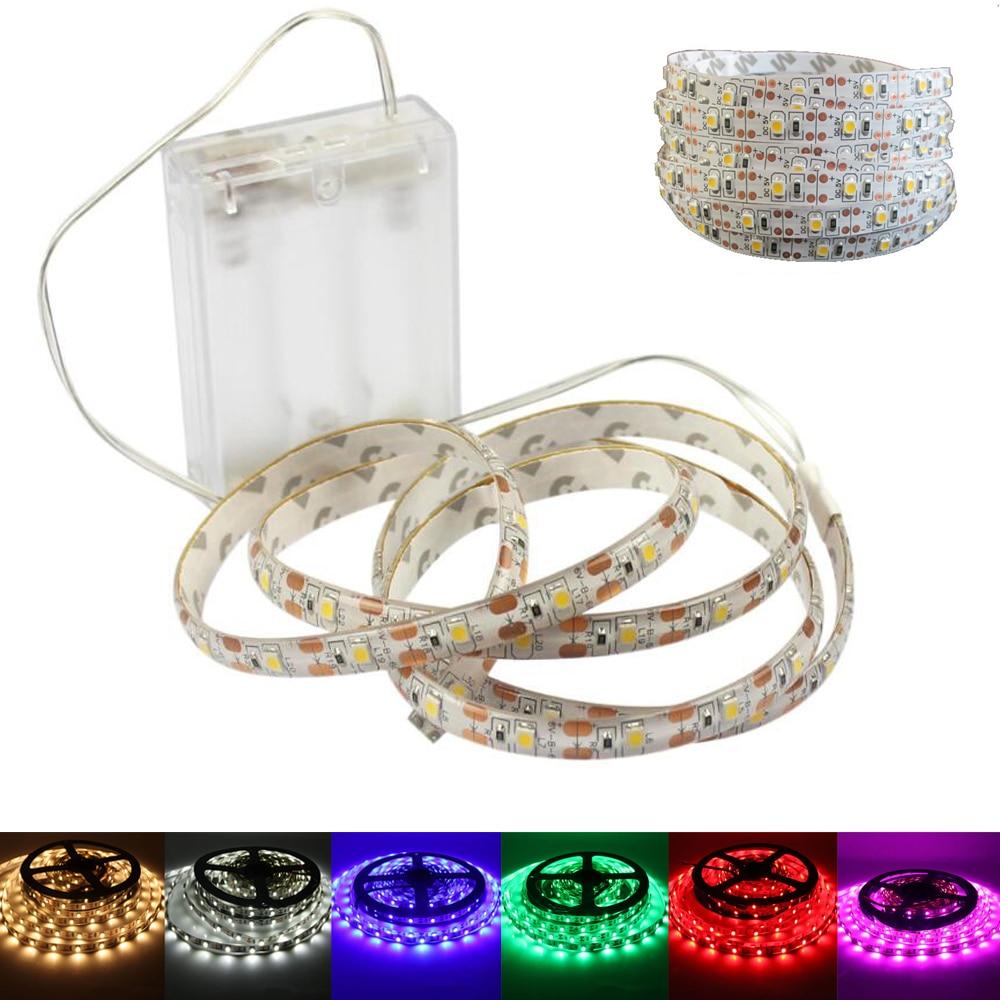 LED Strip 5V AA Battery Powered Waterproof LED Strip Light 3528 60LEDs/M Flexible LED Ribbon Diode Tape Lamp 50CM 1M 2M 3M 4M 5M