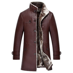 Genuine Leather Sheepskin Fur Jacket and Coats For Man 5XL Vintage Business Winter Mens Fur Leather Trench Coats Streetwear 2020