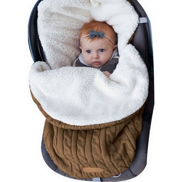 Baby Sleeping Bag Newborn Winter Autumn Warm  Infant Stroller Cotton Knitted Envelopes Blanket Unisex Fleece Sleep Sack 1