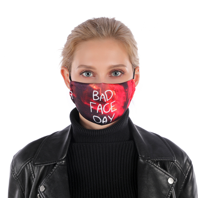 Fashion Printing Reusable Protective PM2.5 Filter mouth Mask anti dust Face mask Windproof Mouth-muffle bacteria proof Flu Mask 1