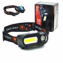 Портативный мини фонарь XPE + COB для кемпинга, светодиодный фонарь для экстренных случаев, налобный фонарь с зарядкой от USB