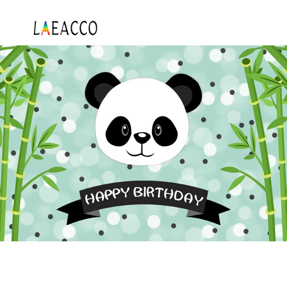 Laeacco Panda Green Bamboos Happy Birthday Party Portrait Baby Photography Backdrops Photographic Backgrounds For Photo Studio