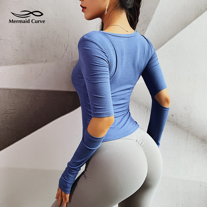 Mermaid Curve Women Yoga Shirt Long Sleeve Hollow Out Sport T Shirt Quick Dry Fitness Clothing Gym Running Tight Jogging T Shirt