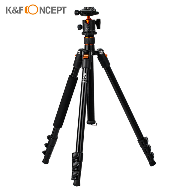 K&F CONCEPT Portable Camera Tripod Stand Aluminum Aolly 4 Section 63.4in/161cm with Panoramic 360° Swivel Ball Head for DSLRs