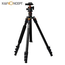 K & F مفهوم كاميرا صغيرة محمولة حامل ثلاثي القوائم الألومنيوم Aolly 4 قسم 63.4in/161 سنتيمتر مع بانورامية 360 درجة قطب الكرة رئيس ل DSLRs