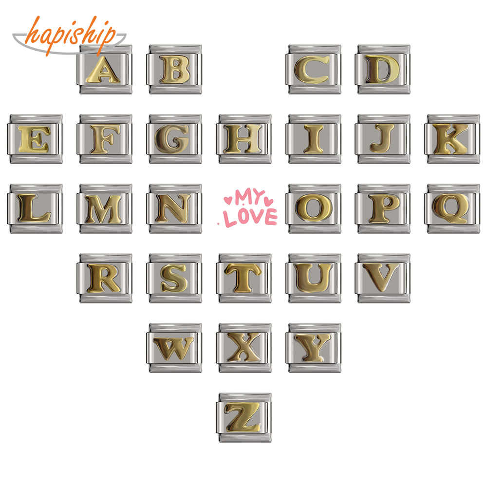 Hapiship 2018 9mm largura original daisy ouro 26 letras A-Z italiano charme apto 9mm pulseira de aço inoxidável jóias fazendo dj110