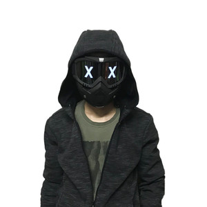 Image 2 - LED Lights Mask Luminous Half Face X Glowing Eyes DIY Eyewear Mask Removable masks DJ Party Halloween Cosplay Prop Gift