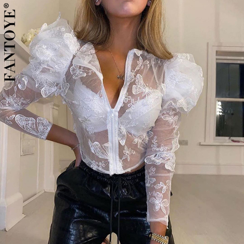 FANTOYE Lace Embroidery Chiffon Blouse Shirt Summer Sexy See-Through Mesh Puff Sleeve Shirt Female Office Lady Blusa Outfits