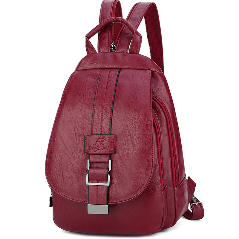 2019 Women Leather Backpacks Vintage Female Shoulder Bag Sac A Dos Travel Ladies Bagpack Mochilas School Bags For Girls Preppy