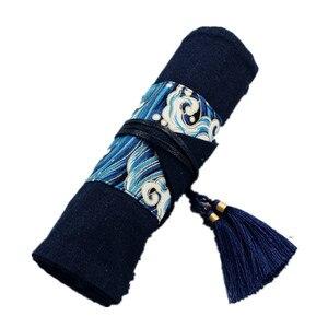 Image 5 - Oriental janpan estilo chinês lápis envoltório bolsa de algodão rolo up caneta organizador caso bolsa de viagem para artistas estudante