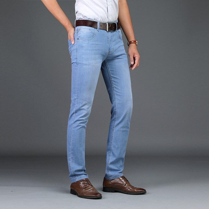 Skinny Jeans Men 2020 Fashion Male Business Stretch Denim Trouser Casual Light Blue Vintage Dress Pant Spring Men's Summer Jeans