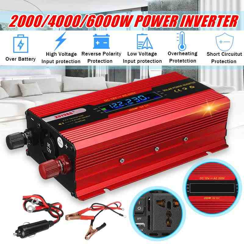 Solar Inverter DC 12V untuk AC 220V 6000 W/4000 W/2000 W PE AK Power inverter Transformator Tegangan Converter Transformer + LCD Display