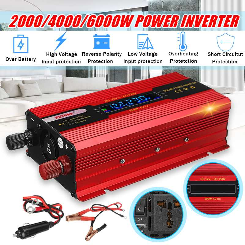 Solar Inverter DC 12V zu AC 220V 6000 W/4000 W/2000 W Pe ak Power inverter Spannung Transformator Konverter Transformator + LCD Display