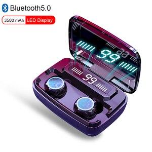 Image 1 - TWS 블루투스 5.0 헤드폰 무선 이어폰 터치 컨트롤 방수 9D 스테레오 스포츠 게임 헤드셋 마이크와 LED 디스플레이