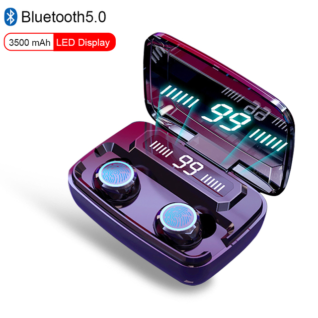 TWS Bluetooth 5.0 Headphone Wireless Earphone Touch Control Waterproof 9D Stereo Sport Gaming Headset LED Display With Mic