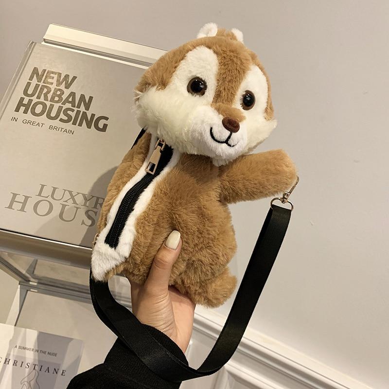 VeryMe Cute Plush Toy Stuffed Animals Doll Shoulder Bag Coin Purse Wallet Pouch Girls Winter Plush Crossbody Bag Birthday Gift