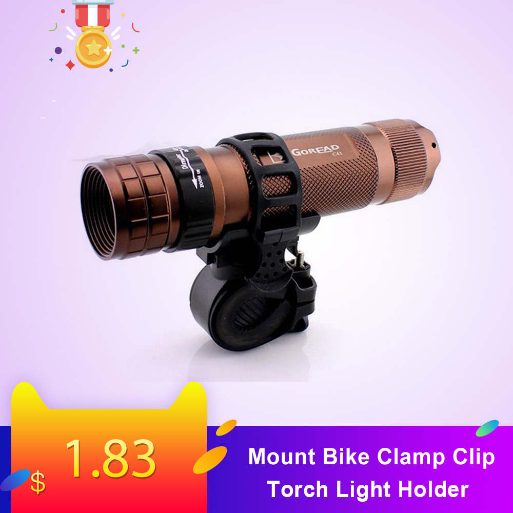 Mount Bike Clamp Clip Bicycle Flashlight LED Torch Light Holder Adjustable 360° Rotatable Cycling Grip