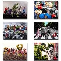 Pósteres estampados de superhéroes de Los vengadores de Marvel para decoración de habitación de niños, cuadro sobre lienzo para pared