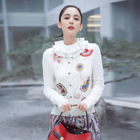 2019 fall and winter new single breasted heavy embroidery beaded women woolen cardigans coat