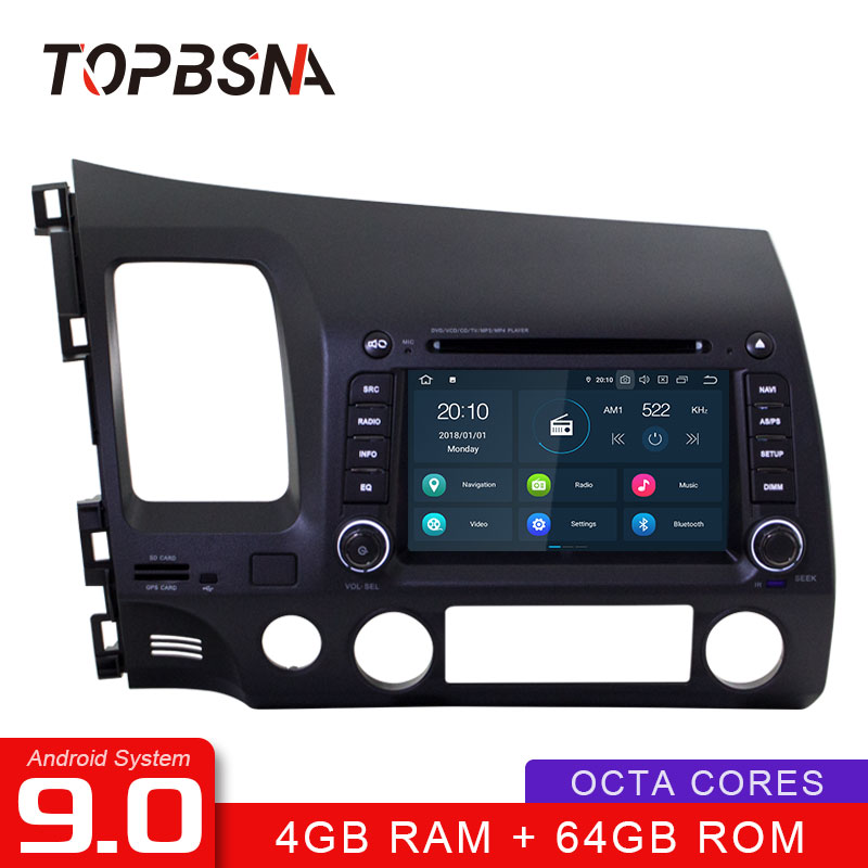 TOPBSNA <font><b>Android</b></font> 9.0 Auto DVD Player Für <font><b>HONDA</b></font> <font><b>CIVIC</b></font> 2006-2011 WIFI Multimedia GPS Navigation 2 Din Auto Radio Video <font><b>stereo</b></font> RDS IPS image