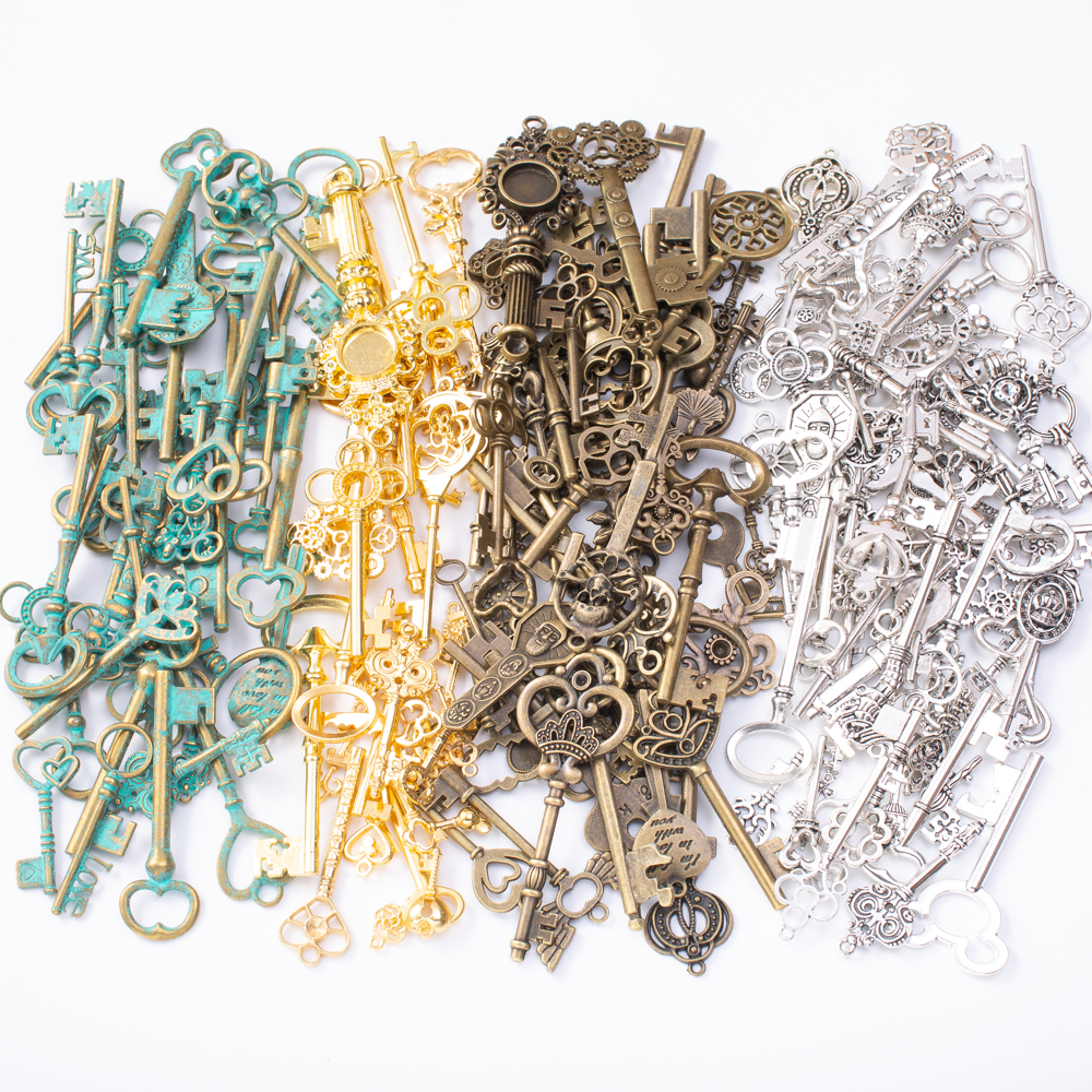 50pcs Mixed Key Charm Pendants Tibetan Antique Bronze Jewelry Making Accessories