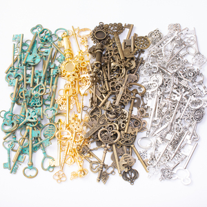 50g hot sale metal mixed charm keys series antique bronze bracelet necklace handmade jewelry making wholesale DIY 8064