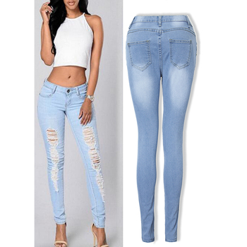 Fashion Mid Waist Jeans Women Vintage Blue Ripped Skinny Elastic Denim Pencil Pants Ladies Trousers Summer D30 blue fashion low waist ripped letter pattern skinny jeans