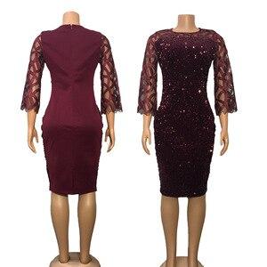 Image 4 - Robes africaines pour femmes 2020 élégant paillettes nouveauté Style de mode femmes africaines été grande taille genou robe