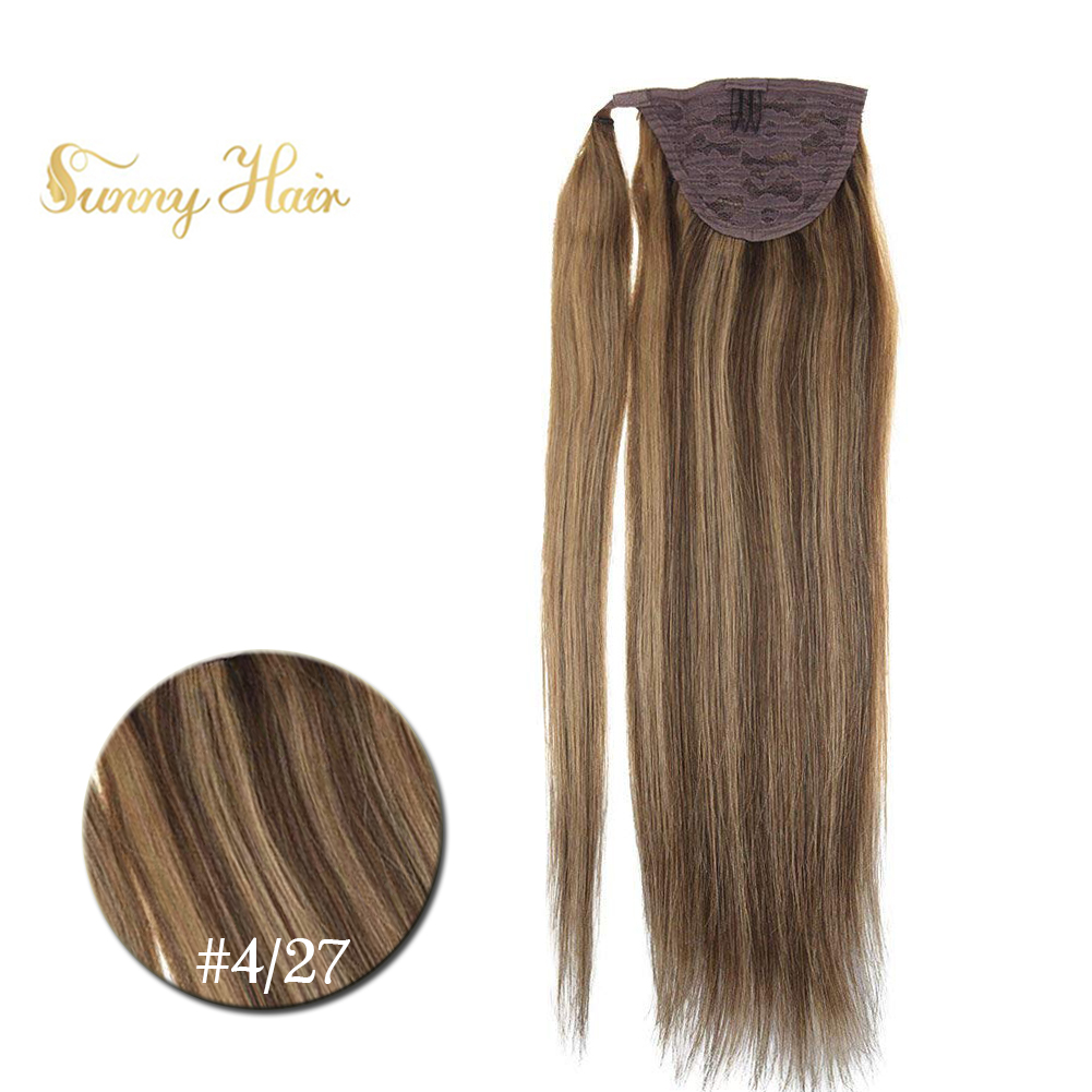 VeSunny Ponytail Extensions Wrap Around Magic Tape With Comb Machine Remy 100% Human Hair Highlights Brown Mix Caramel #4/27