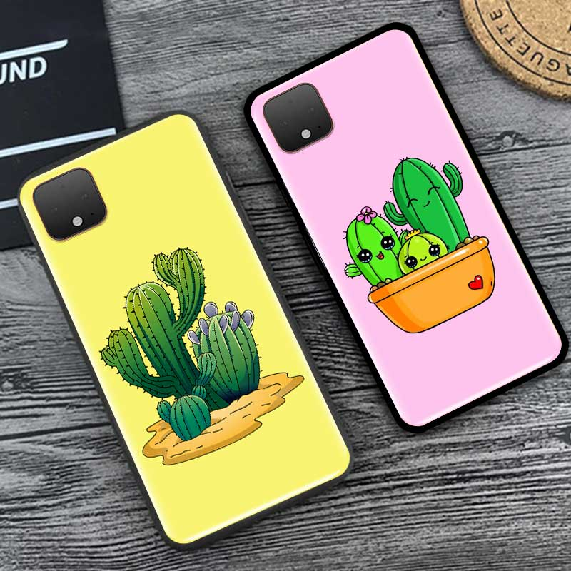 Cactus Cute Matte Phone Case For Google Pixel 4 XL 4A 5G Pixel 5 Luxury Soft Silicone Fundas Black Cover Coque Shell Capa Pink