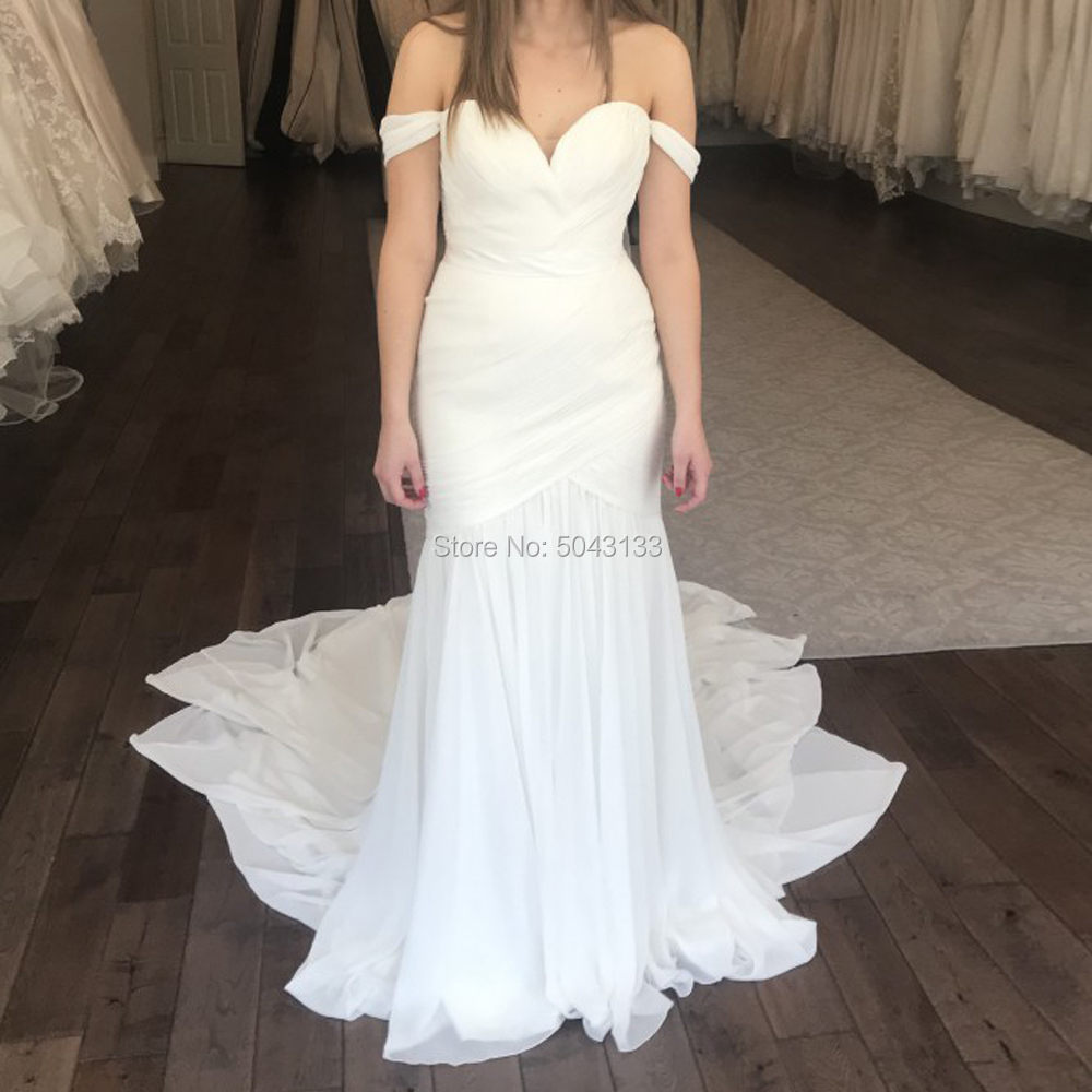 Charming Pleated Chiffon Mermaid Wedding Dresses 2019 Sexy Off The Shoulder Sweetheart Backless Bride Wedding Gowns Sweep Train