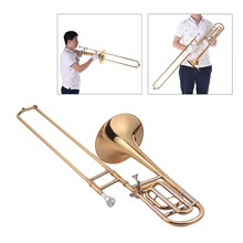Muslady Intermediate Bb Flat Tenor Slide Trombone with F Attachment Including Mouthpiece Carry Case Gloves Cleaning Cloth