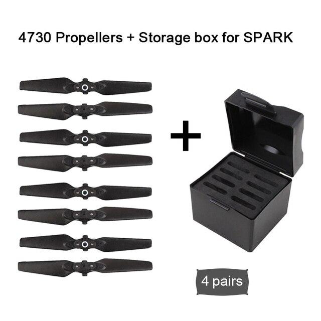 Para dji faísca acessórios 4730 dobrável para dji spark hélice lâminas de liberação rápida adereços + caso de armazenamento para dji faísca zangão