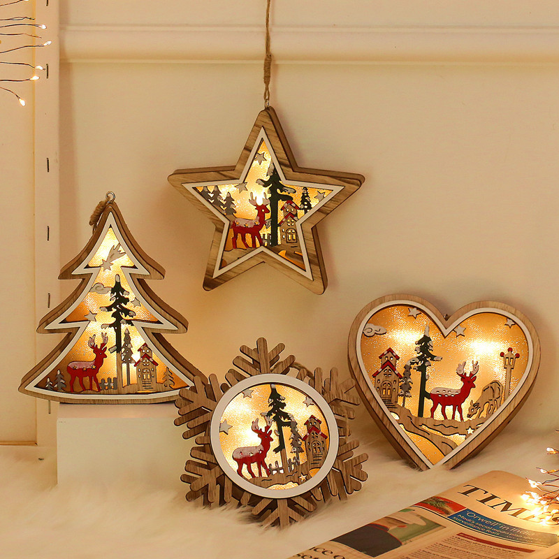 Holiday Lighting Christmas Tree Led Lights Decoration Outdoor Battery Operated Wooden Light Snowflake Home Decor Hanging Lamp