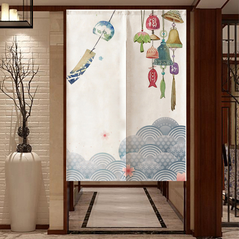 Cherry Blossoms Noren Koi Crane Japanese Curtain Noren Japanese Curtain Entrance Feng Shui Door Curtain