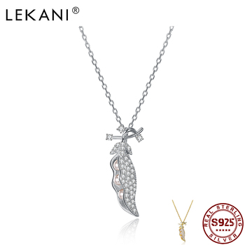 LEKANI Sterling Silver 925 Jewelry Chokers Necklaces For Women Shining Cubic Zirconia Carob Shape Plant Pendant Necklaces Hot image