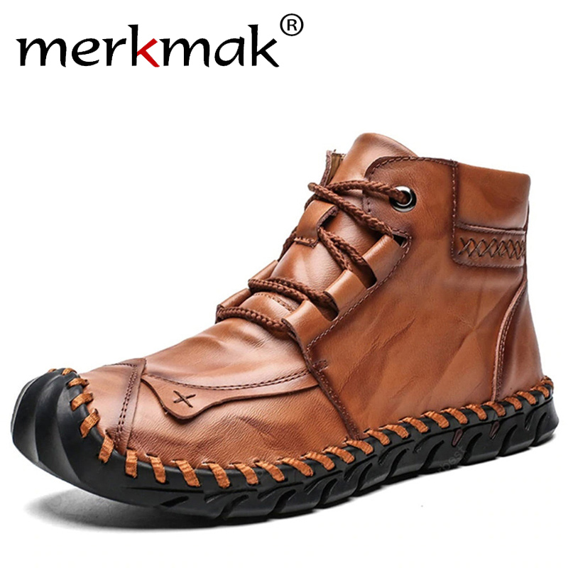 Merkmak High Quality Autumn Winter Men Leather Boots Warm Plush Snow Boots Fashion Lace-up Motorcycle Boots Big Size Casual Shoe
