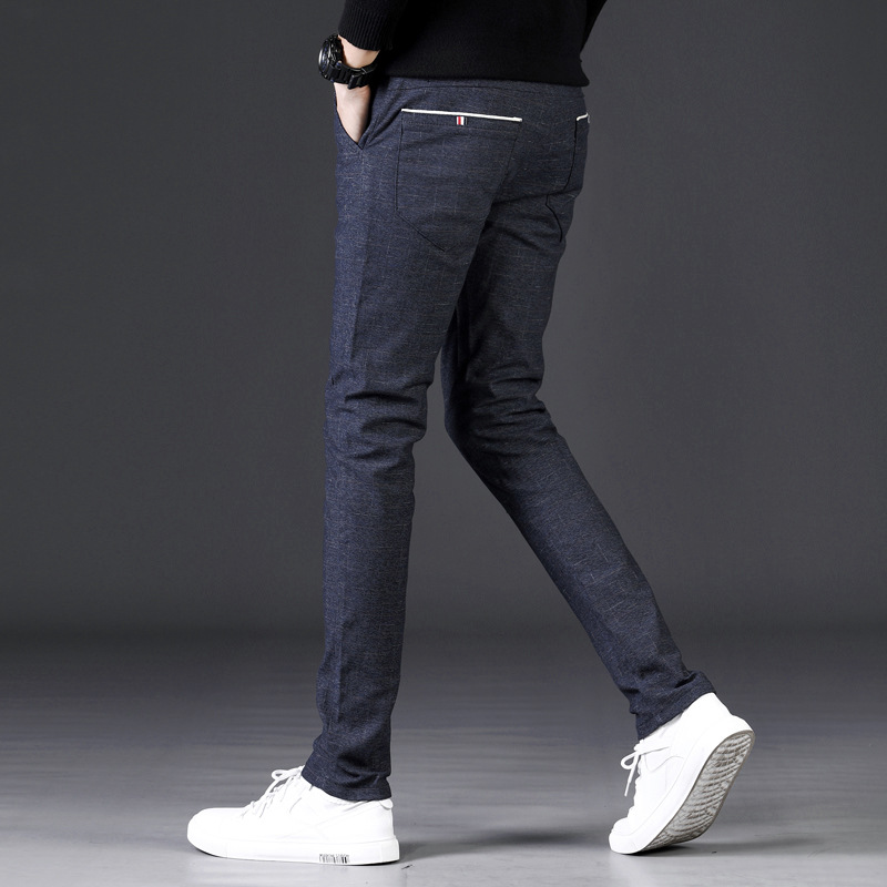 Men Long Pants Autumn & Winter Korean-style Trend Loose-Fit Skinny Pants Brushed Elasticity Casual Pants 688 # A Generation Of F