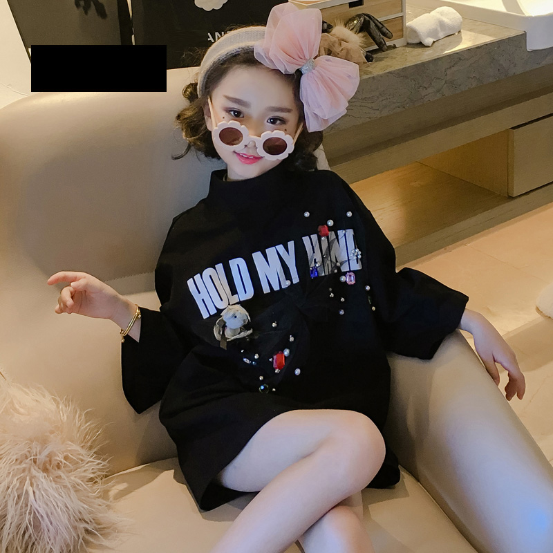 Spring Summer girls t shirt Baby long tee kids fashion tops Children streetwear clothes mesh bow pearl bear patch 4 to 14 yrs