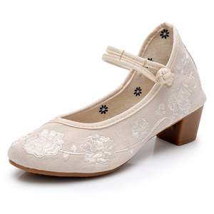 Image 4 - Veowalk Vintage Embroidery Women Mid Block Heel Shoes Canvas Pumps for Elegant Ladies Woman Cotton Embroidered Chinese Shoes