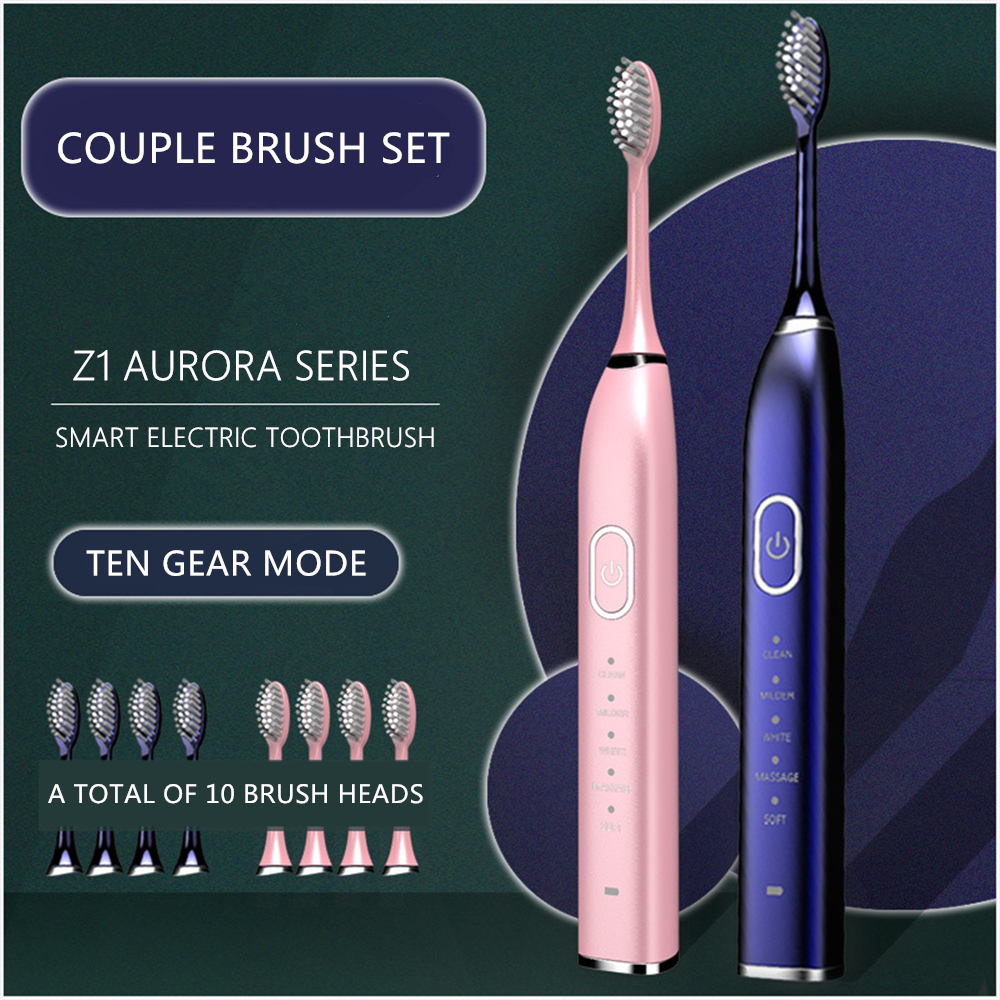 Automatic Sonic Electric Toothbrush 10 Modes USB Rechargeable Ultrasonic Teeth Brush for Adult 5/10pcs Replacement Heads Set