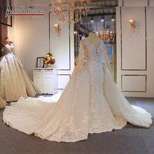 Luksusowe pełna frezowanie suknia ślubna o kroju syreny z odpinany pociąg ciężki frezowanie ślubne suknie ślubne